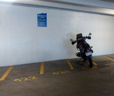Free M/C parking for managers at Richmond General Hospital - everyone else has to ride the ambulance!