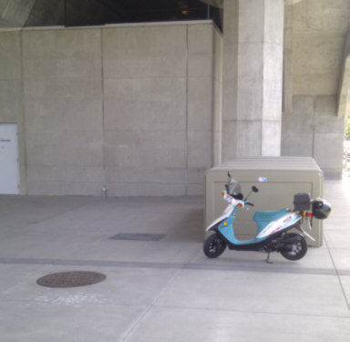 Free parking under Skytrain railway on Skytrain property.  Skytrain doesn