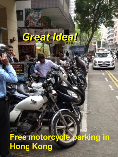 Asian cities maximize efficiency of roads by encouraging motorcycle parking everywhere.