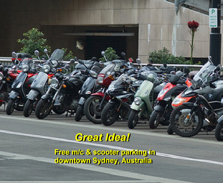 Sydney, Australia, reduces emissions across the city by encouraging free 2-wheel parking everywhere.