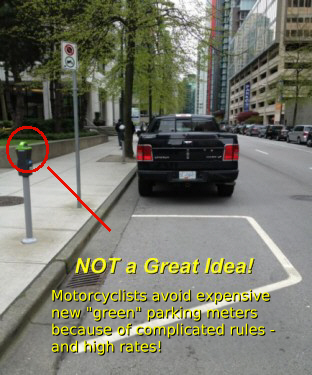 When the City installed these shared parking meters, the 2-wheelers disappeared instantly!