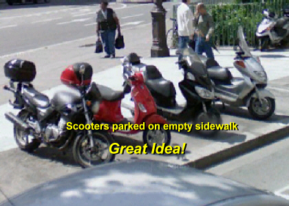 Scooters can parking on wide sidewalks without causing any congestion.